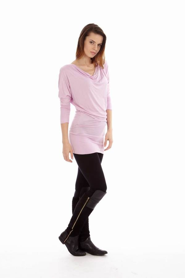 Pink Cowl Neck Dress