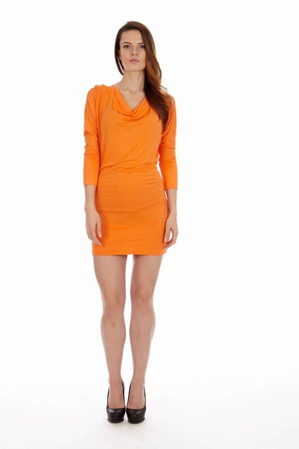 Orange Cowl Neck Dress