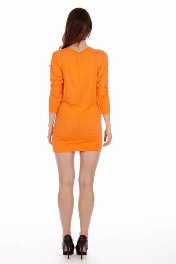 Orange Cowl Neck Dress