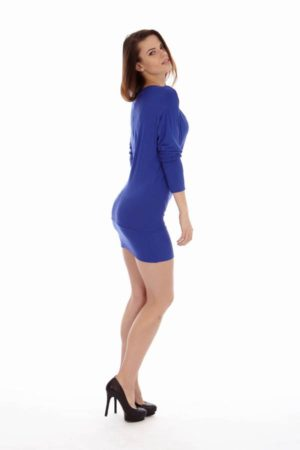 Royal Blue Cowl Neck Dress