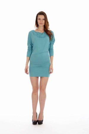 Teal Cowl Neck Dress