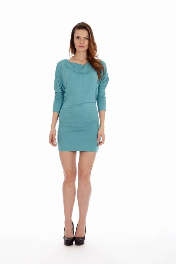 Teal Cowl Neck Dress