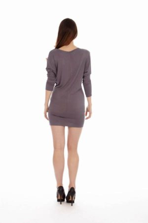 Solid Grey Cowl Neck Dress