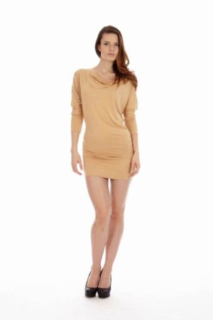 Tan Cowl Neck Dress