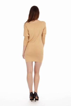 Tan Cowl Neck Dress