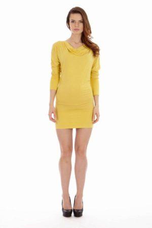 Yellow Cowl Neck Dress