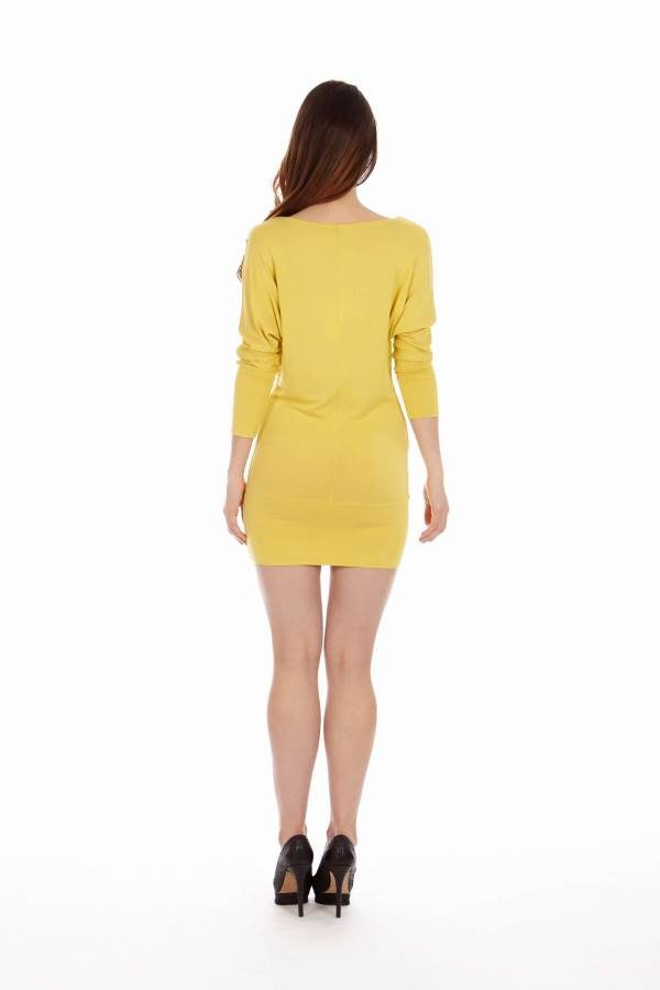 Yellow Cowl Neck Dress
