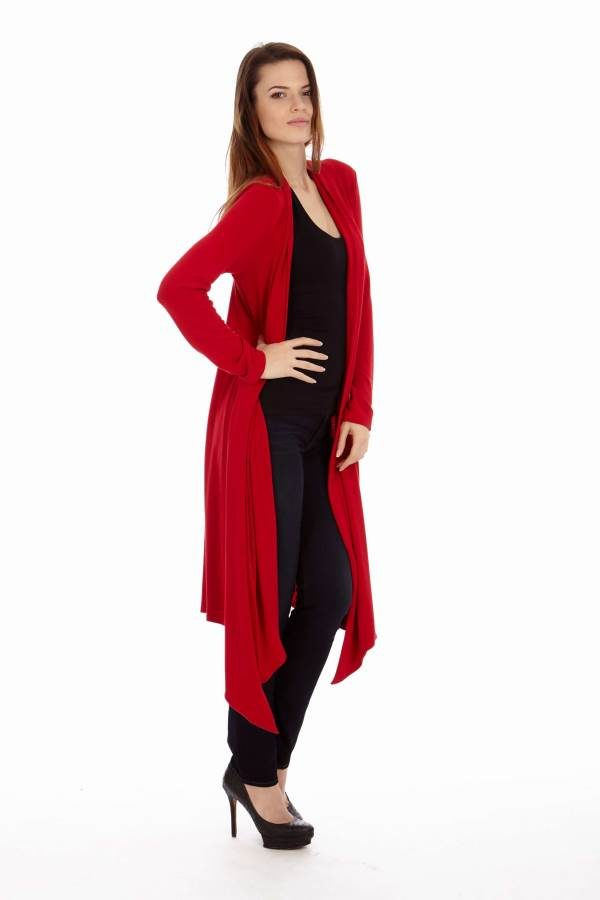 Red Drape Cardigan
