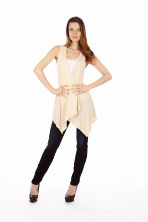 Cream Sleeveless Cardigan