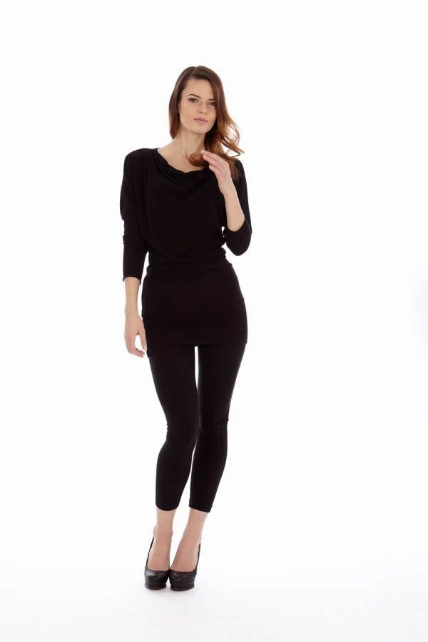 Black Mid Sleeve Tunic Dress