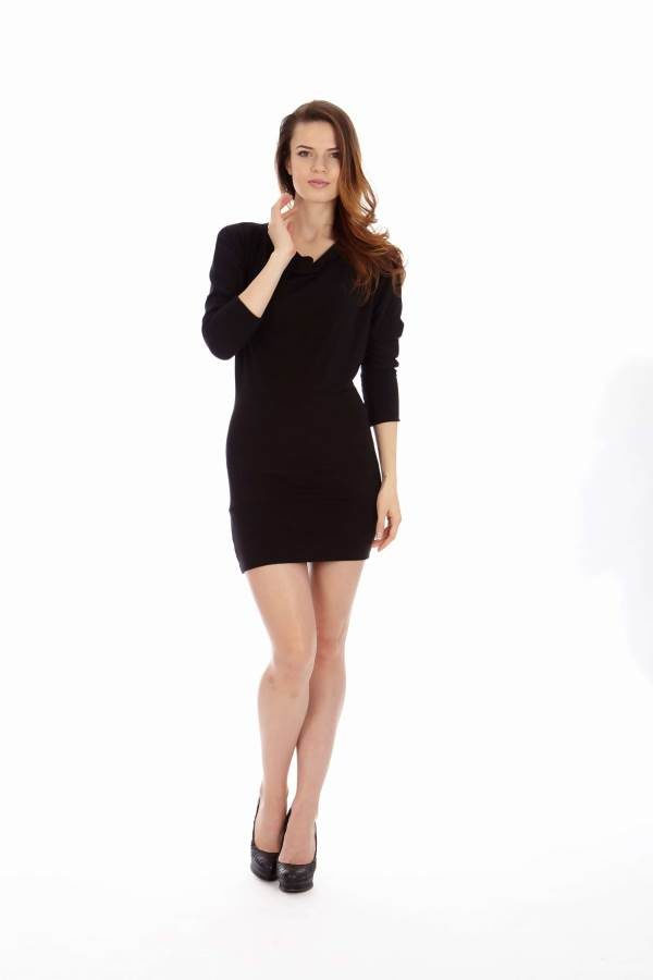 Black Mid Sleeve Tunic Dress