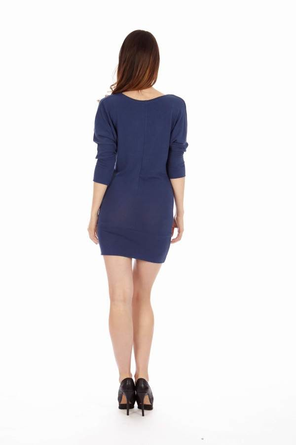 Navy Mid Sleeve Tunic Dress