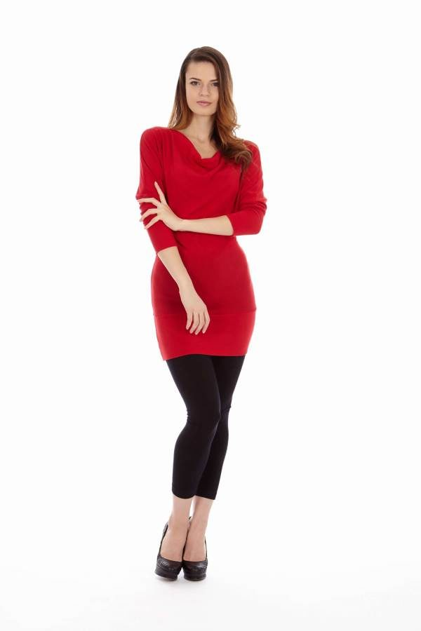 Red Mid Sleeve Tunic Dress