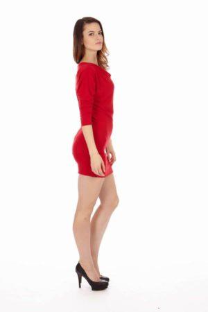 Red Mid Sleeve Tunic Dress
