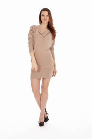 Tan Mid Sleeve Tunic Dress