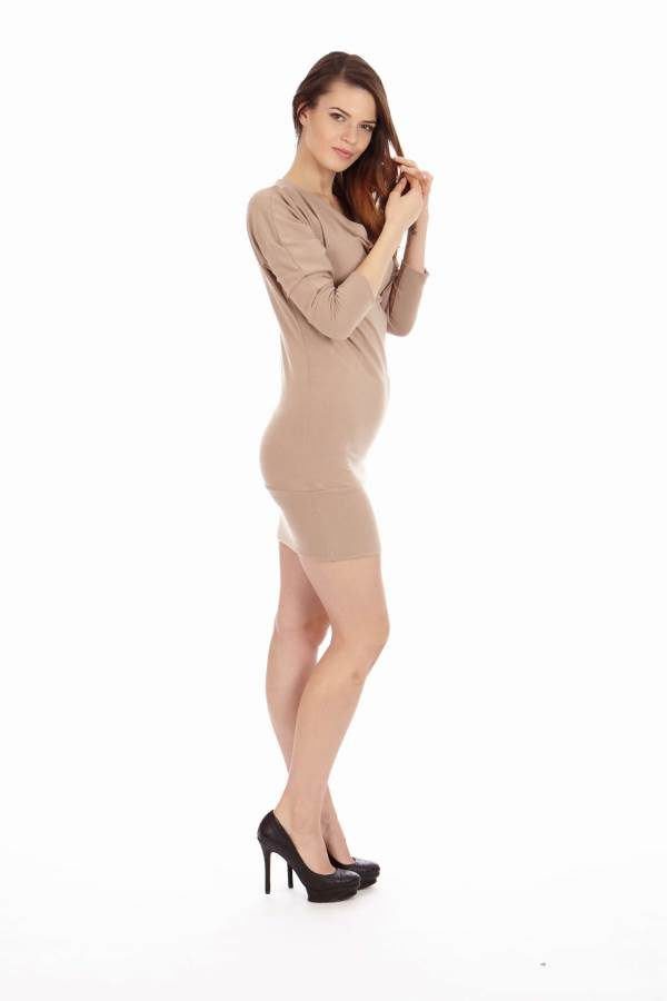 Tan Mid Sleeve Tunic Dress side