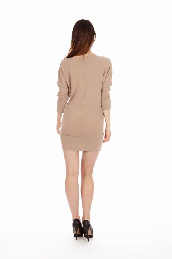 Tan Mid Sleeve Tunic Dress back
