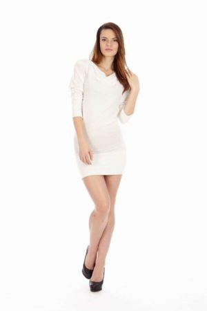 White Mid Sleeve Tunic Dress