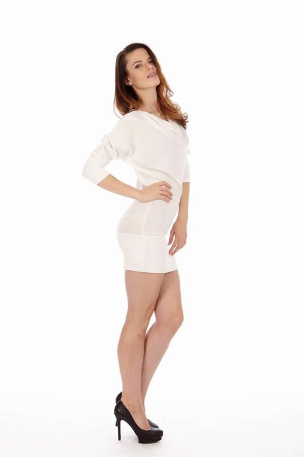 White Mid Sleeve Tunic Dress