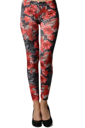 Red Lotus and Leopard Footless Leggings