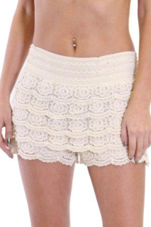 Ivory Cotton Crochet Shorts