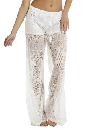White Wide Leg Crochet Pants