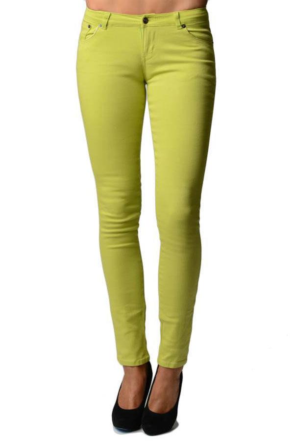 Green Apple Colored Denim - Skinny Jeans