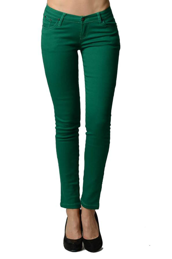 Jade Colored Denim - Skinny Jeans