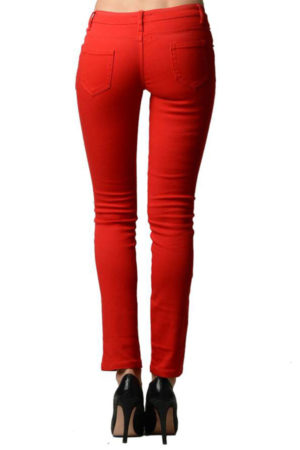Red Rose Colored Denim Skinny Jeans