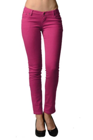 Fuchsia Colored Denim - Skinny Jeans