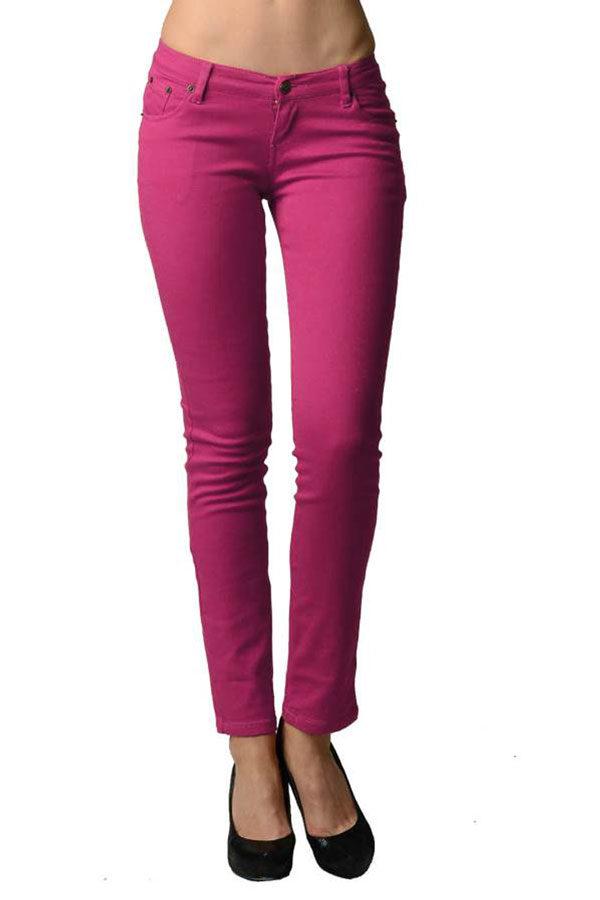 Fuchsia Colored Denim - Skinny Jeans