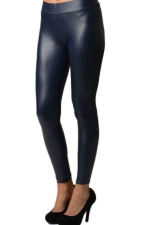 Navy Leather Leggings