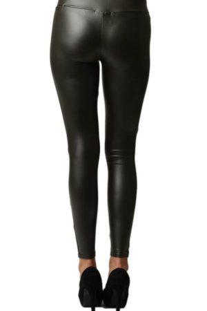 Dark Grey Leather Leggings