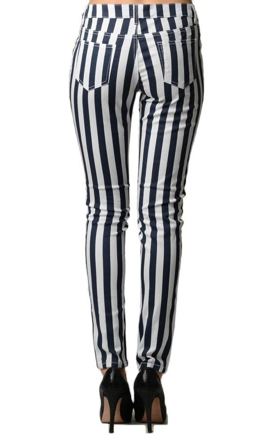 Striped Navy and White Skinny Jeans back