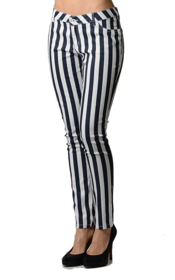Striped Navy and White Skinny Jeans side