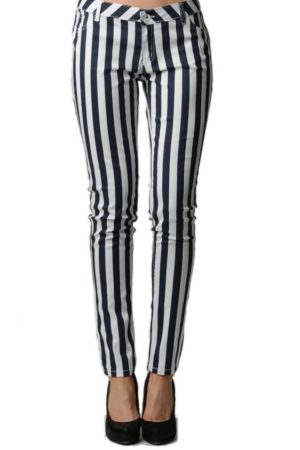 Striped Navy and White Skinny Jeans front
