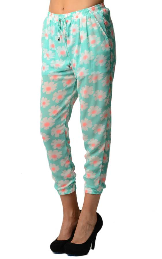 Aqua Floral Print Chiffon Harem Pants