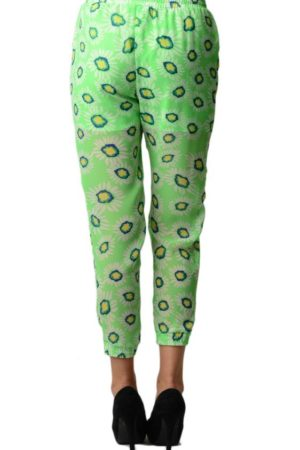 Green Chiffon Floral Print Harem Pants