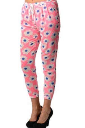 Pink Floral Print Chiffon Harem Pants