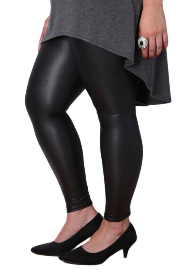 Plus-Size Black Leather Leggings