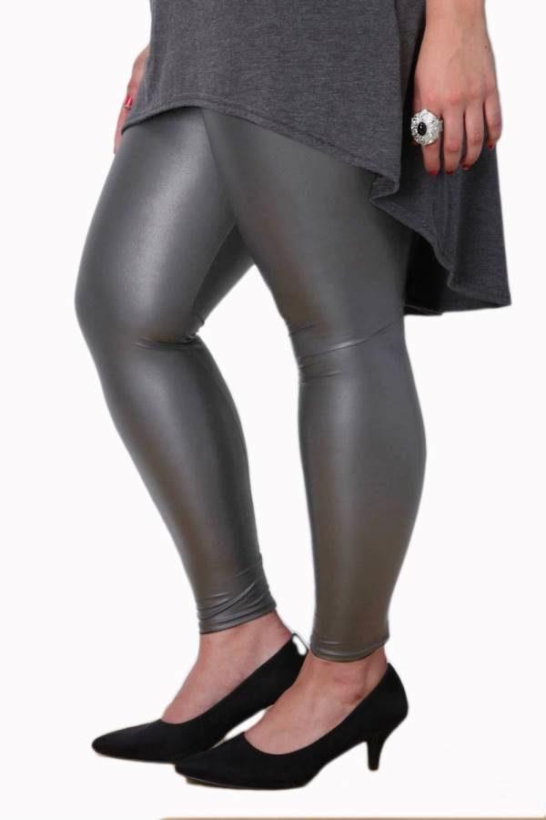 Plus-Size Gray Leather Leggings
