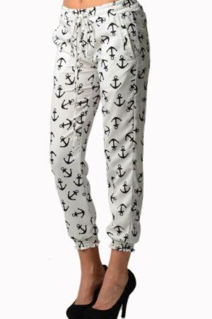 White Anchor Print Chiffon Harem Pants