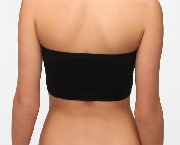 Seamless Ruched Bandeau Plus Size Black Bra