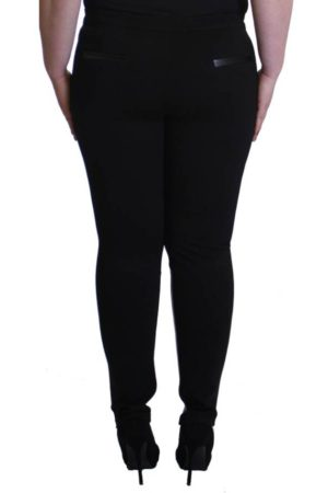 Plus-Size Trim Leather Jeggings