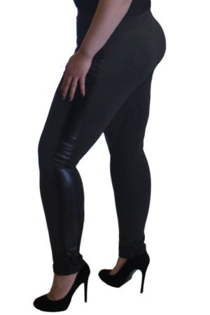 Grey Leather Panel Plus Size Leggings