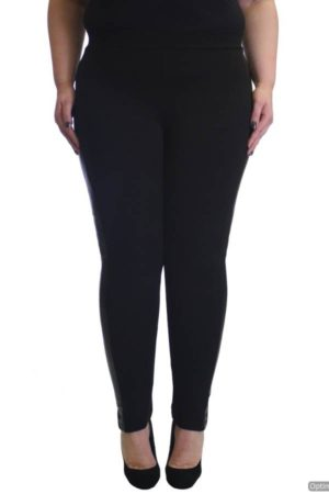 Black Leather Panel Plus Size Leggings