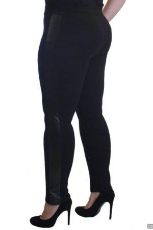 Black Leather Panel Plus Size Leggings