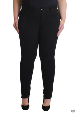 Plus-Size Black Slim Fit Pants