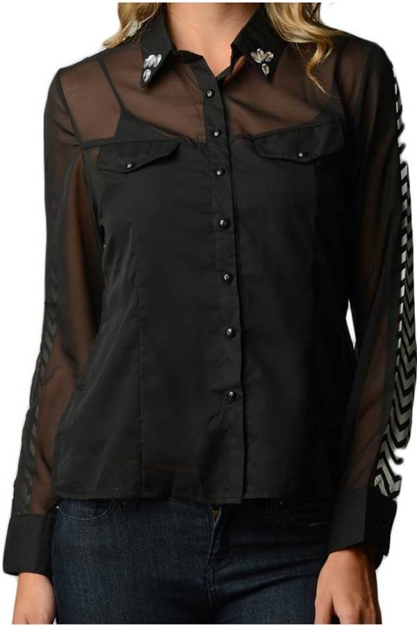 Black Chiffon Shirt with Jeweled Collar