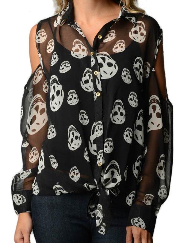 Skull Print Plus Size Chiffon Shirt